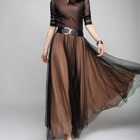 Retro Chiffon Maxi Dress with Mesh Insert