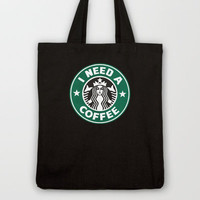STARBUCKS - I need a coffee! Tote Bag by John Medbury (LAZY J Studios)