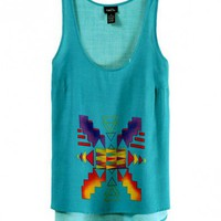 Green High Low Tank Top with Geometric Print