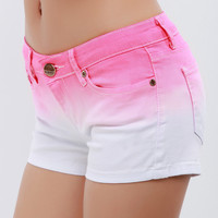 Gradient Color Denim Shorts/ Pink