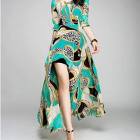 High Low Chiffon Maxi Dress with Baroque Print