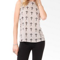 Glittered Cross Muscle Tee
