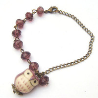 Antiqued Brass Porcelain Owl Purple  Quartz bracelet by gemandmetal on Etsy