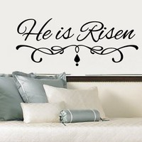 Wall Decal He Is Risen Christian Vinyl Decal 22289
