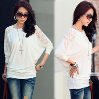 Vogue Womens Splicing See-through Lace White Batty Sleeve T-shirt Top Blouse 1gP