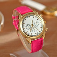 Pink 3 quartz Leather Watch