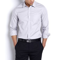 Plain Slim Fit Long-Sleeved Shirt with Cutaway Collar