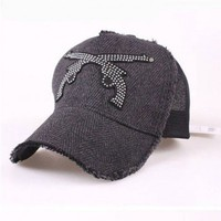 Gray Wool Blended and Grid Panel Baseball Cap with Double Diamante Embellished Guns