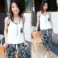 Girls Color Block White+Black Sleeveless Hot Cropped Harem Pants Jumpsuits 4706