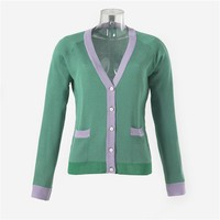 V-Neck Long-Sleeved Cardigan with Contrasting Ribbing