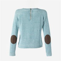 Round Neck Marl Knit Sweater with Elbow Patches