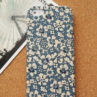 Handmade White Flora Print Case for iPhone