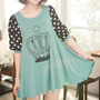 FREE SHIPPNG Green Dot Sleeve Chiffon Women Blouse HXA2028gr