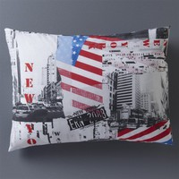 YORK MAP Printed Cotton Pillowcase