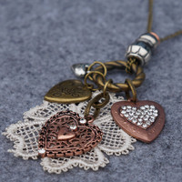 Triple Hearts and Lace Flower Long Necklace
