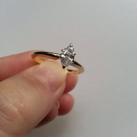 SALE 14K Yellow Gold Marquise Diamond Ring Solitaire Engagement Wedding 1/3 ct Classic Style