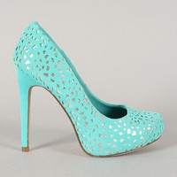 Lam Velvet Perforated Round Toe Pump
