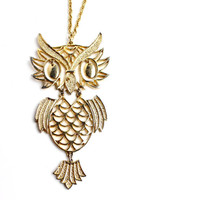SALE - Vintage Owl Necklace -  Large Articulated Gold Tone 1970s Costume Jewelry / Statement Bird