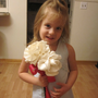 Fabric flowers - Flower girl wands with 2 large flowers bridesmaids wands- birthday wand - Roses Peonies Carnations