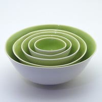 Lime Green and White Nesting Bowls