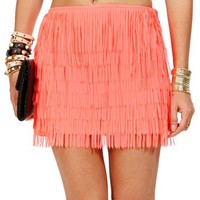 Neon Coral Fringe Mini Skirt