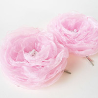 Pink Flower Hair Pins, Organza Fabric Flower Bobby Pins, Hairpins, Bobbies, Hair Clips, Ranunculus Flower Hair Accessories, Women, Gift