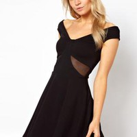 Starry Off Shoulder Skater with Mesh Insert Black