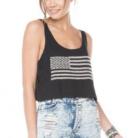 Brandy ♥ Melville |  Mirella Flag Embroidery Tank - Clothing