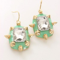 Mint Rhinestone Centered Spike Dangle Earrings