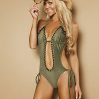 Olive Beaded Eyelet Trim Side Tie Pucker Back Monokini