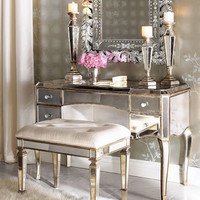 Claudia Mirrored Vanity/Desk &amp; Vanity Seat