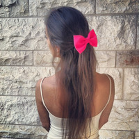 BIG Glowing pink hair bow
