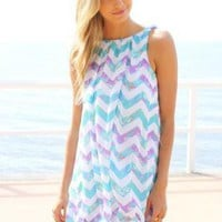 Chevron Print Mini Bubble Dress with Open Plunge Back