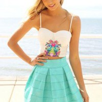 Tropical Bird Print Sleeveless Crop Bustier Top
