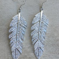 Sparkling Tiered Feather Earrings [3923] - $22.00 : Vintage Inspired Clothing &amp; Affordable Summer Frocks, deloom | Modern. Vintage. Crafted.