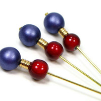 Counting Pins, Needlepoint Marking Pins, Purple, Red, Needlework Tool, DIY Crafts, TJBdesigns