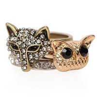 mixed metal owl with fox ring - 1000047737 - debshops.com