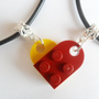 Dark Red and Yellow Heart His and Her Necklace Set, Made Using Lego Bricks.