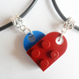 Dark Red and Blue Heart His and Her Necklace Set, Made Using Lego Bricks.