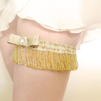 Gatsby bridal garter golden pearls and lamé OOAK by Jye, Hand-made in France