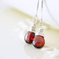 NEW Garnet Earrings, Threader Earrings, Deep Red Gemstone, Wire Wrapped, January Birthstone, Sterling Silver Jewelry, Free Shipping