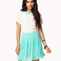 Contrast Pleated Chiffon Dress