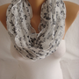 Chiffon White Black Bow Foulard, Scarf, Spring Scarf, Summer Scarf Mother&#x27;s Day Gift-ESCHERPE