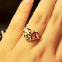 Colorful Heart Rhinestone Adjustable Ring | LilyFair Jewelry