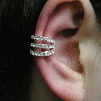 Strings Attached Rhinestone Single Ear Cuff | LilyFair Jewelry