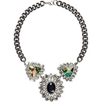 Grey metal gem stone statement necklace