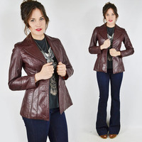 vtg 70s boho hippie wilsons OXBLOOD maroon burgundy LEATHER skinny fit BELTED spy trench coat blazer jacket xs s