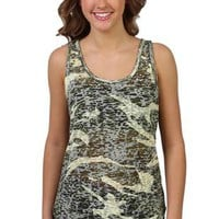 camouflage burnout high low tunic tank top with studs around the neck - 1000049762 - debshops.com