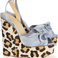 Charlotte Olympia|Miranda satin and calf hair wedge sandals|NET-A-PORTER.COM