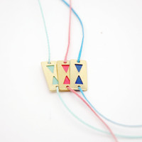Minimalist Geometric  Enamelled Triangle Bracelet - Cobalt Blue, Coral Pink, Mint Green Hand Painted Modern Jewelry , Friendship Bracelet